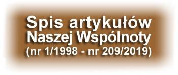 Spis ważniejszych artykułów Naszej Wspólnoty (nr 1/1998 - nr 209/2019)